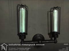 [ht:home] industrial steampunk sconce (Corvus Szpiegel) Tags: life original light home lamp metal wall bulb this iron punk industrial arm mesh steam sl secondlife hate second dual ht sconce challenge edison steampunk hatethis