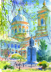 06-05-16s (Irina V. Ivanova) Tags: tree church garden watercolor sketch spring cathedral russia outdoor drawing monastery saintpetersburg 365sketches