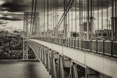 George Washington Bridge (Magma917818) Tags: bridge blackandwhite bw newyork river us unitedstates hudsonriver georgewashingtonbridge