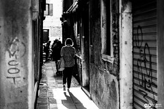 6X1B2197 (ABenyon_Photo) Tags: street old city travel blue venice sky people history water architecture boat blackwhite
