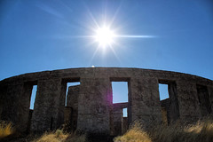 Omen (Ken Cruz --- Fernweh) Tags: sun nature sunshine concrete star sunny bluesky center stonehenge washingtonstate monolith hdr maryhill