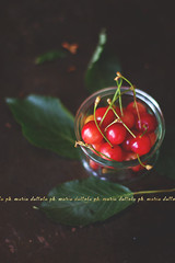 Yummy food (Maria Dattola) Tags: summer stilllife food nature fruits daylight cherries bokeh details atmosphere nopeople bowl foliage indoors copyspace freshness delicacy yummyfood rawfood darkbackground elevatedview steelbackground mariadattola