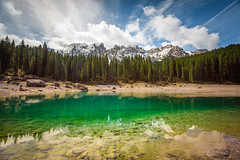 Carezza (ronnybas) Tags: wood blue summer italy mountain lake alps reflection tree green tourism nature water beautiful rock forest landscape lago europe view natural south scenic sunny clear val di alto tyrol trentino dolomites altoadige carezza adige karersee latemar fassa 500px ifttt