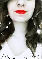 Red Lips (pas.dela) Tags: blackandwhite girl beautiful face curls ricci rosso ritratto biancoenero chapstick rossetto labbra boccoli