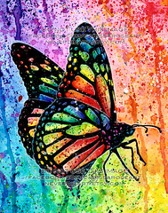 Butterfly (Caressa_sparkle) Tags: art girl up tattoo illustration butterfly watercolor painting rainbow colorful artist pin bright drawing outsider traditional pop popart splatter pinup alternative lowbrow paints edgy