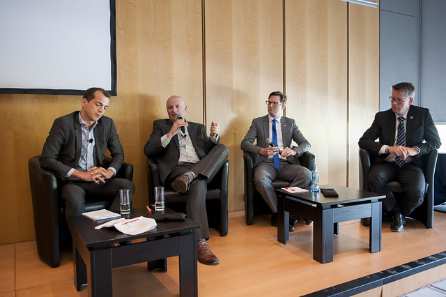 William Todts, Anders Berndtsson, Patrik Akerman and Nils-Gunnar Vågstedt discussing at the event