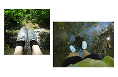 (t-nary) Tags: bridge sun sunlight white reflection feet water leaves sunshine digital forest canon woods diptych shoes stream hiking background vans keds shoeshot