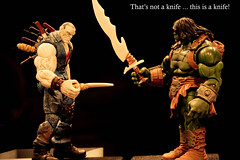 Battle of the Blades (atari_warlord) Tags: actionfigure knives dccomics injustice marvelcomics marveluniverse solomongrundy 375 dcuniverse dcdirect worldwarhulk