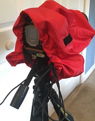 10 min later....done (T. Hayes) Tags: camera red rain diy tripod cover raincoat protection d300s