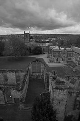 Ashby de la Zouch from Hastings Tower (Richard Needham) Tags: blackandwhite castle monochrome clouds leicestershire ashbydelazouch