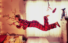 Peter, wait! (Neon Lilith) Tags: red flying surreal floating levitation peter pan pajamas