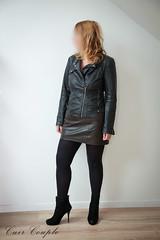 elle236 (Cuir Couple) Tags: leather bondage skirt bdsm master jacket jupe mistress veste leder matre pant pantalon cuero cuir hosen cravache maitresse martinet cuissardes