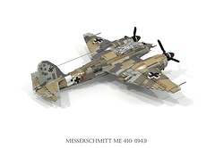 Messerschmitt Me 410 Hornisse (lego911) Tags: messerschmitt me 410 fighter bomber aero airplane aeroplane aircraft luftwaffe 1943 1940s ww2 wwii world war 2 ii german germany air plane db603 db 603 v12 hornett hornisse moc model miniland lego lgeo911 ldd render cad povray