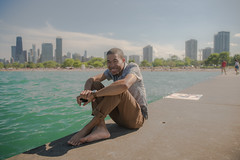 Chicago Lakefront (Antrell Williams) Tags: sun selfie portrait portraits shooter shoot sony canon mirrorless lakefront lake chicago chitown illinois haze water