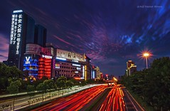 LIght trails (Asif Hasnat Monon) Tags: china street city nyc longexposure blue light red summer cloud ny newyork london hongkong highway dubai cityscape nightscape shanghai dusk awesome beijing cellphone xian slowshutter lighttrails bluehour hdr citystreet skyscapers cityarchitecture asiancity silkysky