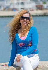 The best reason to visit Connecticut (tquist24) Tags: blue portrait woman seascape beach water girl smile sunglasses nikon pretty bokeh connecticut shoreline newengland curls windy shore breezy westbrook hww nikond5300