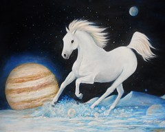 Europa Vacation  watercolor pencil on art board ( work in progress) (Artist Victoria Watson) Tags: blue art animal europa drawing space surreal fantasy planet scifi planets whitehorse juno equine colorpencil animalart fantasyart juipter runninghorse scifiart thegalaxy horseart equineart handrendered moonsofjupiter actiondrawing