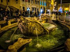 Fontana (fabioseda) Tags: people rome water fountain night landmark piazzadispagna di piazza spagna 500px