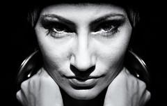 jen (polo.d) Tags: portrait white black girl monochrome beauty face up look eyes aperture noir close wide portraiture gipsy