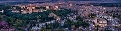 Panorámica de la ciudad de Granada desde la Ermita de San Miguel (dleiva) Tags: city sunset panorama españa dawn spain dusk andalucia amanecer alhambra granada andalusia domingo leiva citiscape dleiva parnoamica