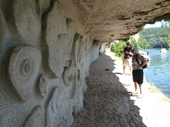 (Fraser P) Tags: sculpture cliff france rock river boats mural lock lot relief limestone towpath buzies