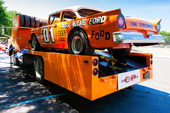 1957 Ford race car aboard a 1956 Ford transport truck (hz536n/George Thomas) Tags: summer copyright ford race canon michigan transport canon5d flint carshow 2016 hauler ef1740mmf4lusm cs5 sloanmuseum sloanmuseumautofair