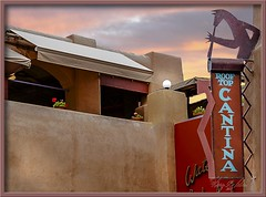 Cantina - Sante Fe, NM (Sugardxn) Tags: roof urban newmexico santafe southwest rooftop bar dinner photoshop restaurant cafe pub drink canon20d lounge canoneos20d santefe dining saloon stucco quench picswithframes sugardxn garypentin