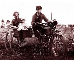 Kate & Henry Best & Baby, perhaps 1915 (JFGryphon) Tags: sidecar oldmotorcycle mudguards henrylee katherinelee katebest 1908excelsior katherinebest westonontario henrybest ansonmcnish margaretmcnish