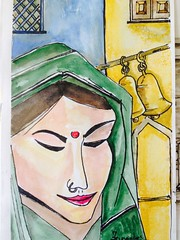 Indian women (By Michael Fernandes) Tags: uk blue england black green art apple yellow bells pen painting nose michael women pretty gallery indian exhibition ring watercolour hindu sari tika iphone fernandes