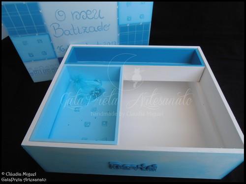 """Caixa grande de batizado """"Retalhos Azuis"""""""