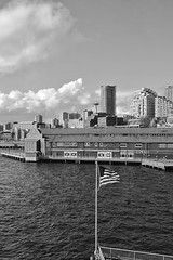 View Northeast from Waterfront (Shore Birder) Tags: seattle blackandwhite aquarium waterfront flag spaceneedle pier59 greatwheel canon450d canonxsi