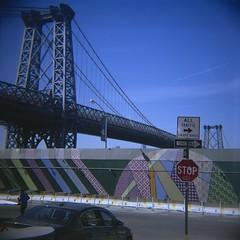 Williamsburg, NYC (Mattron) Tags: nyc newyorkcity streetart newyork film brooklyn analog mediumformat holga waterfront superia williamsburg reala williamsburgbridge selfscanned