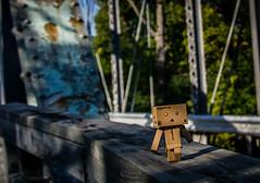 Danbo walking (Chris (Midland05)) Tags: bridge michigan midland danbo amazoncojp tittabawasseeriver currieparkwaybridge pentaxk5 imgp1392 jolietbridgeandironcompany metalpinnedprattthroughtruss