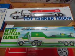 Toy Exxon tanker and BP race car carrier (Thomas the Bible Believer) Tags: toys nj bp tanker exxon sicklerville berlincrosskeysroad racecarcarrier peddlerswarehouseandfleamarket