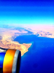 Suez Canal seen from our flight from Cairo to Bahrain!