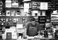 Dad (Swordfish Photo) Tags: ohio portrait blackandwhite 120 mamiya film store ut 645 kodak trix toledo atwork 645protl baitstore