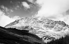 Ben Donich (Cintramontane) Tags: trees sky blackandwhite snow mountains clouds landscape outdoors scotland landscapes highlands trossachs
