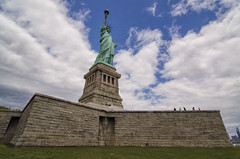 Statue of Liberty (Brandon Godfrey) Tags: nyc newyorkcity usa ny newyork france clouds day unitedstates unitedstatesofamerica wideangle bluesky landmark icon 12mm statueofliberty iconic libertyisland ladyliberty