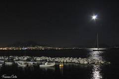 Napoli di notte (atrialbyfire) Tags: sea moon seascape nature night boats boat seaside barca mare seascapes natura barche luna fullmoon napoli naples vesuvio notte lunapiena vesuvium