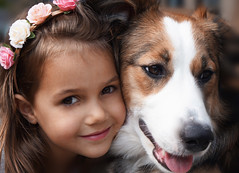 Best friends (Romance Shoots) Tags: dog girl animals children model sweet bordercollie flowergirl childmodel