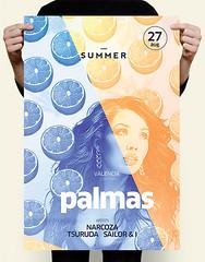 Orange Summer Flyer (DusskDesign) Tags: party summer orange sun fruits palms poster flyer artist dj grapefruit citrus psd template
