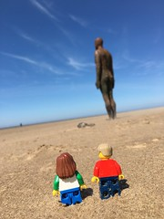 Standing tall #Lego (mattosborne325) Tags: beach liverpool lego minifig minifigs minifigure anthonygormley minifigures crosbybeach