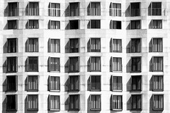 (Delay Tactics) Tags: windows light shadow bw white black berlin hotel apartments blinds curtains lots 48