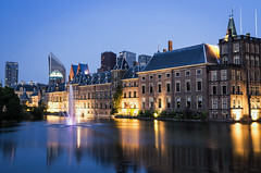 Blue Hour at the Binnenhof (NOAC_) Tags: world lighting street city travel blue light sunset urban holland color travelling monument netherlands beautiful dutch yellow skyline architecture clouds lights evening globe lowlight europe downtown cityscape pentax outdoor dusk gorgeous gothic den nederland cities streetphotography sigma parliament wideangle landmark medieval hague traveller worldwide ii hour traveling lovely haag renaissance cloudscape stad hollands hofvijver global k5 traveler iis binnenhof streetlighting the globetrotter urbanization sigma28mmf18 globetrotting