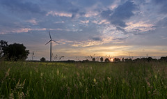 Evening mood in the fields (jan.arnds) Tags: blue trees light sunset cloud sun green mill windmill field yellow clouds landscape evening power wind atmosphere harmony gras shining shimmering endofday janarnds