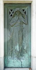 Veiled, pensive woman - verdigris relief sculpture on a mausoleum door (Monceau) Tags: pensive woman verdigris relief sculpture mausoleum door