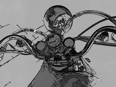 the machine (j.p.yef) Tags: bw monochrome grey transport digitalart motorcycle sw speedometer verkehr handlebars motorrad yef peterfey jpyef