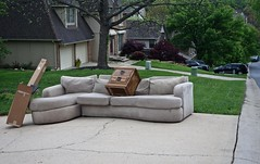 The End Table Resting Area in Red Oak Hills (ricko) Tags: junk suburbia sofa kansas shawnee endtable tidytown