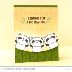 Sending You A Big Bear Hug (Torico27) Tags: animal cards stencil panda handmade bamboo weave myfavoritethings mft dienamics mftstamps