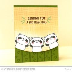 Sending You A Big Bear Hug (Torico27) Tags: animal cards stencil panda handmade bamboo weave myfavoritethings mft dienamics mftstamps